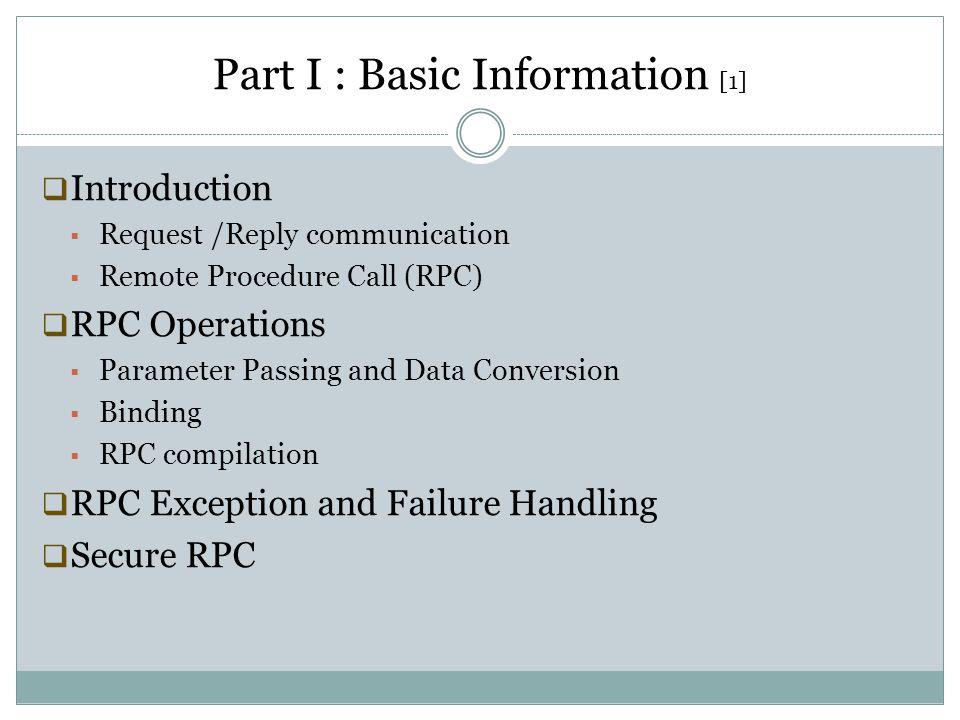 Part I : Basic Information [1]